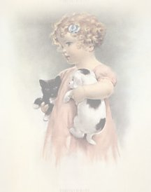 girl with puppy and kitten